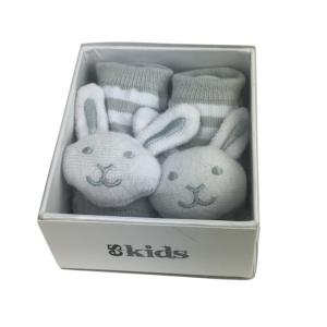 itti bitti bunny rattle socks grey