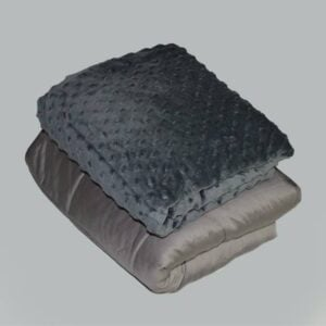 Bamboo Weighted Blanket Sensory Minky Dark Grey Set