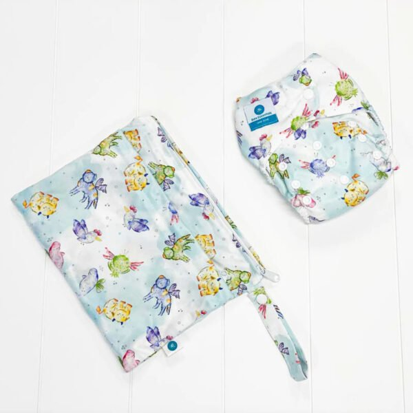 itti bitti bare essentials nappy with wetbag mystical creatures