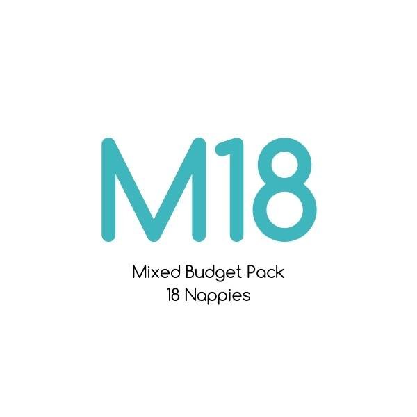 M18 - Mixed Budget Pack - Bare Essentials & Tutto - 18 Nappies | One Size Fits Most Trial Pack